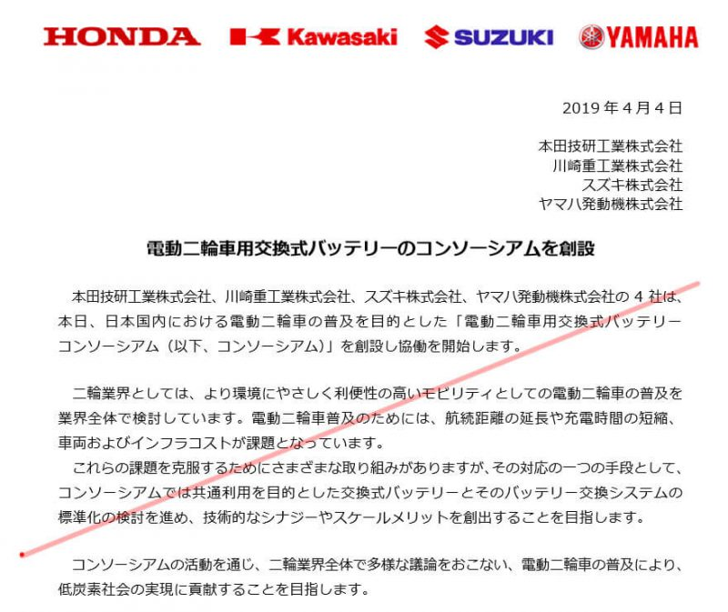 การร่วมมือทางการค้าของ Honda Yamaha Kawasaki และ Suzuki