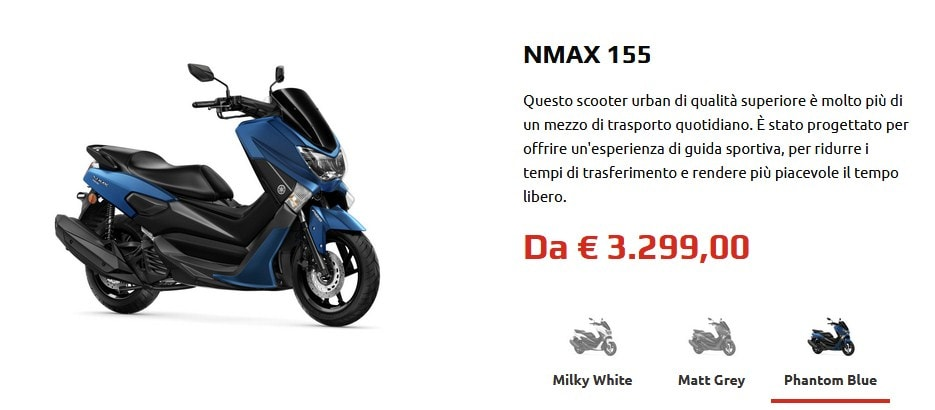 Nmax 155 2020 ราคาที่มีการเปิดเผยในเว็บไซค์