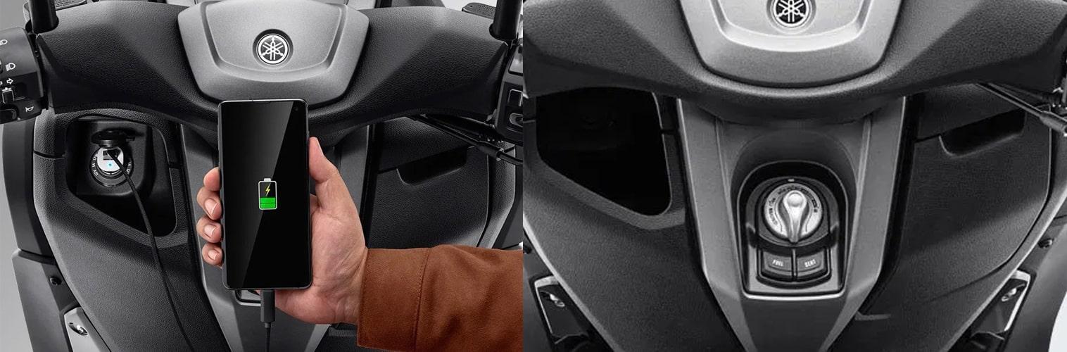 All New Yamaha Nmax 2020 ช่องชาร์จและช่องสตาร์ท