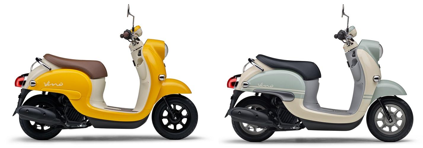 ยามาฮ่า Vino สีเหลืองและสีฟ้าอ่อน