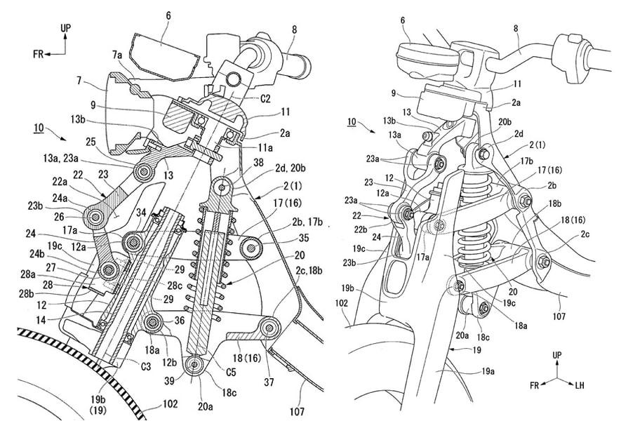 ภาพสิทธิบัตร Honda Super cub ช่วงระบบกันสั่นสะเทือน