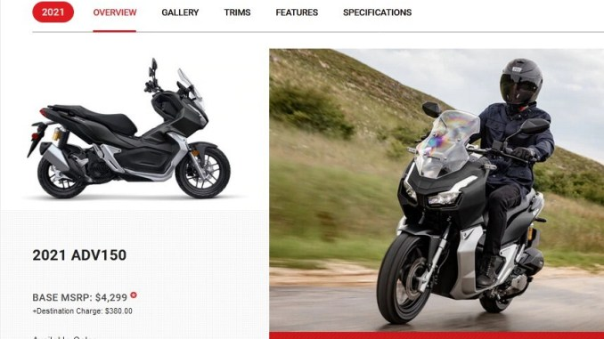 Honda ADV150 2021 ภาพในเว็บไซค์