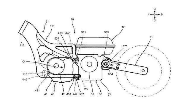 สิทธิบัตรใหม่ Yamaha ภาพร่างสิทธิบัตร สกูตเตอร์ ยามาฮ่า ไฮบริด ด้านข้าง