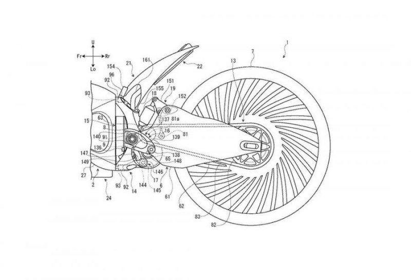 สิทธิบัตร ยามาฮ่า จักรยานยนต์ไฟฟ้าไฮบริด ช่วงล้อหลัง