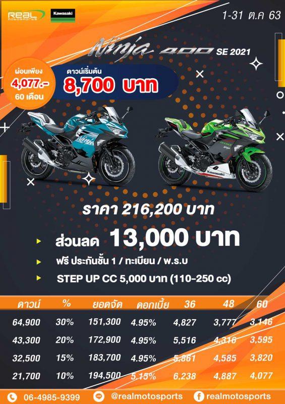 โปรโมชั่นสำหรับรุ่น Ninja400 SE 2021 ต.ค.63
