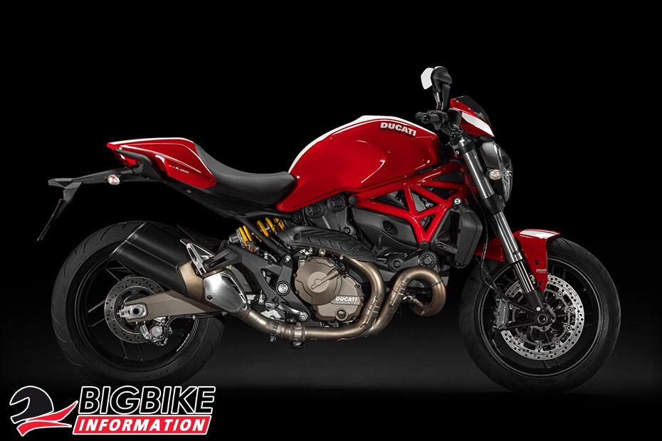 ภาพ DucatiMonster 821Stripe สีแดง ด้านข้าง