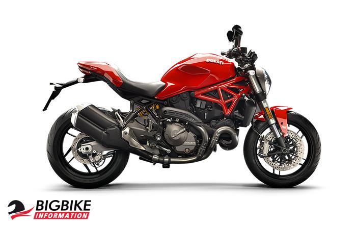 ภาพ DucatiMonster 821 สีแดง ด้านข้าง