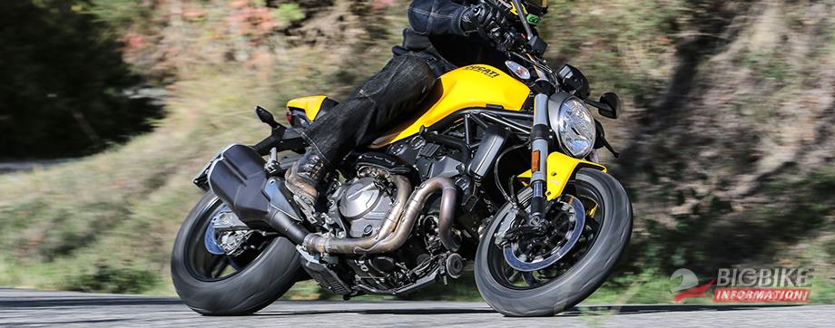 ภาพ DucatiMonster 821 สีเหลือง ด้านข้าง