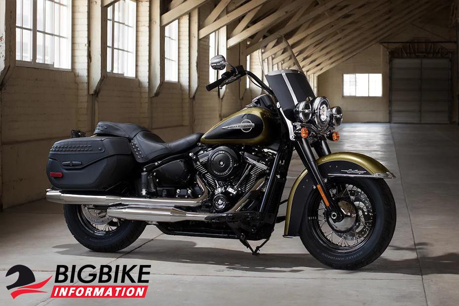 ภาพ Harley Davidson Softail Heritage Classic สีเขียว ด้านข้าง