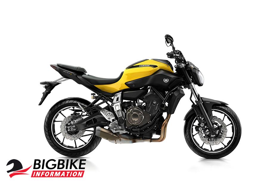 ภาพ Yamaha MT07 สีเหลือง ด้านข้าง