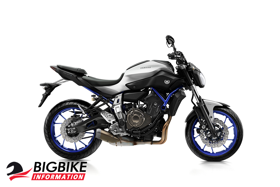 ภาพ Yamaha MT07 สีเงิน-น้ำเงิน ด้านข้าง