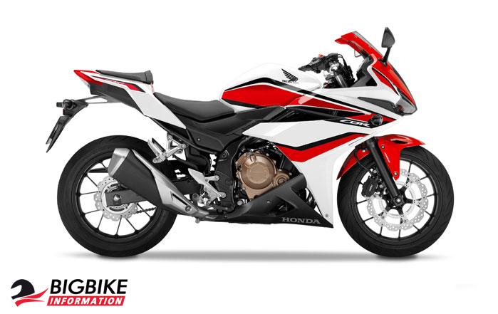 ภาพ Honda CBR500R สีขาว-แดง ด้านข้าง