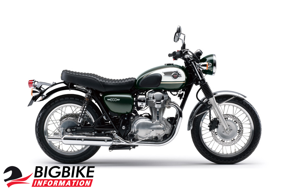 Kawasaki W800 สีเขียวเข้ม ด้านข้าง