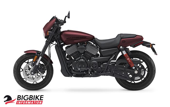 ภาพ Harley Davidson Street Rod สีแดง ด้านข้าง