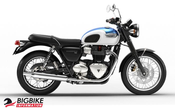 bigbikeไทรอัมพ์ บอนเนวิลล์ ที 100 สี Fusion White and Aegean Blue information