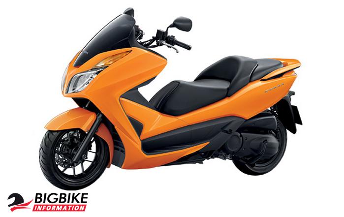 ภาพ Honda Forza 300 สีส้ม ด้านข้าง