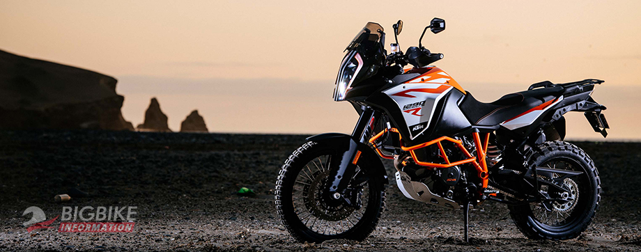 ภาพ KTM 1290 Super Adventure R สีขาวลายส้ม ด้านข้าง