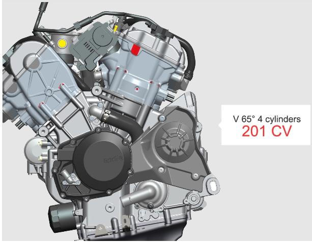 เครื่องยนต์ V4 ที่วางสูบให้เป็นรูปตัว V และทำมุมระหว่างกัน 65 องศา เป็นเอกลักษณ์ของทางค่าย DOHC 4 วาล์วต่อสูบ ระบายความร้อนด้วยน้ำ ขนาดเครื่องยนต์ที่ให้มาขนาด 999.6 ซีซี