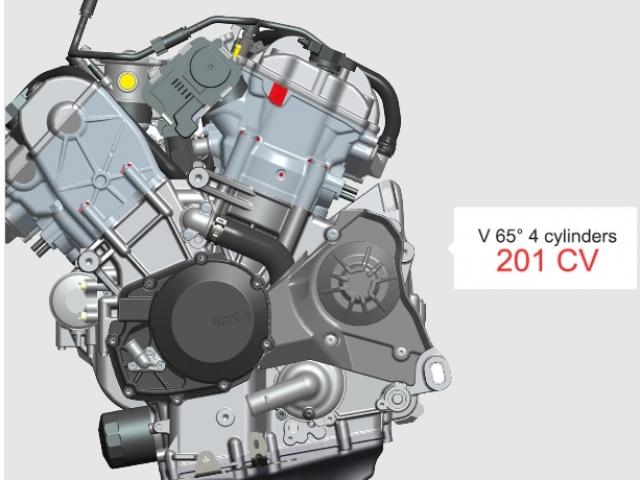 เครื่องยนต์ V4 วางสูบให้เป็นรูปตัว V และทำมุมระหว่างกัน 65 องศา DOHC 4 วาล์วต่อสูบ ระบายความร้อนด้วยน้ำ ขนาดเครื่องยนต์ที่ให้มาขนาด 999.6 ซีซี