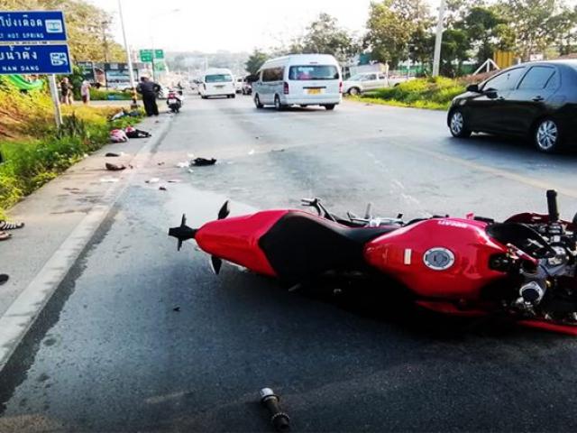 สภาพบิ๊กไบค์หลังเกิดอุบัติเหตุ
