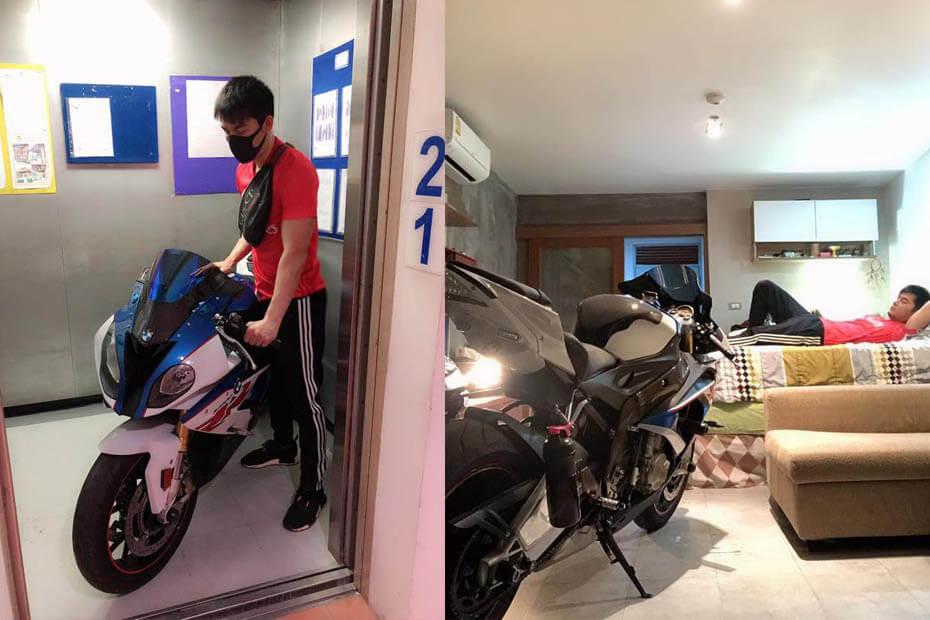 หนุ่มโดนขโมยอะไหล่บ่อย เข็น BMW S1000RR เก็บในห้องบนคอนโด