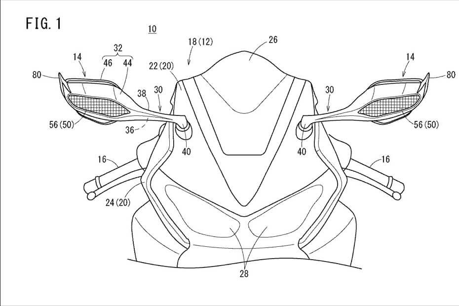เผยภาพสิทธิบัตรกระจกมองข้างใหม่ Honda1000RRR