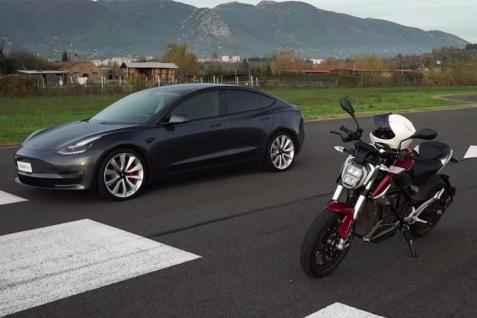 การแข่ง Drag Electric เทียบกันชัดๆ ระหว่าง Zero SR / F และ Tesla Model 3 ใครเร็วกว่ากัน