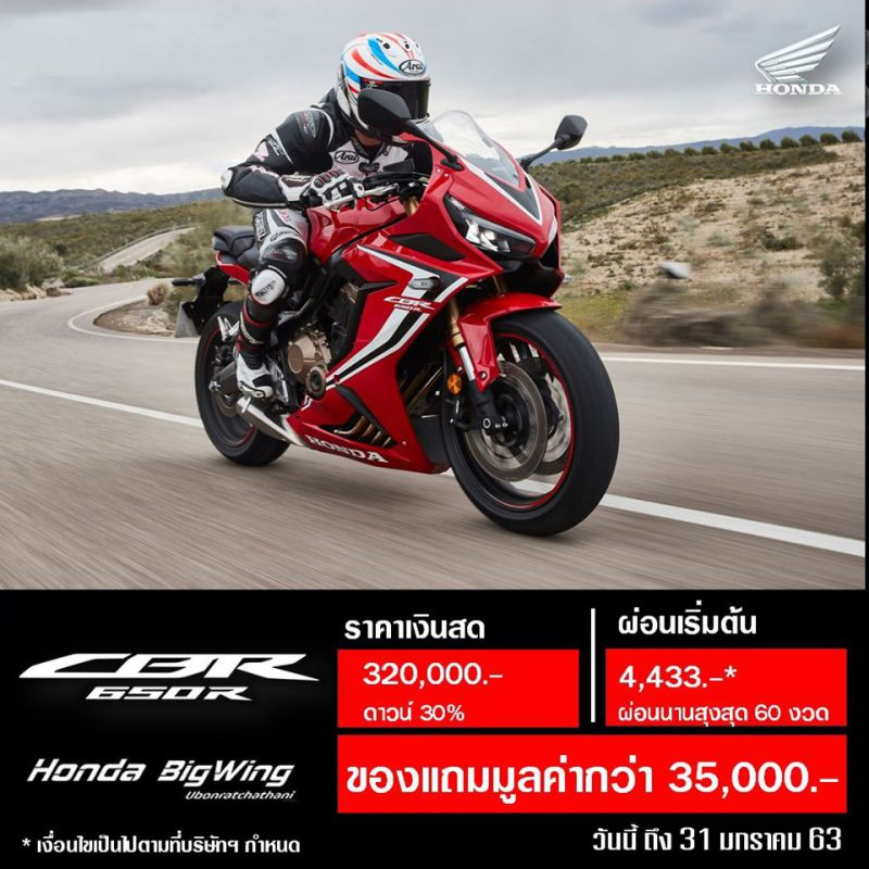 โปรโมชั่นรับตรุษจีน Honda CBR650R วันนี้ – 31 ม.ค. 2563