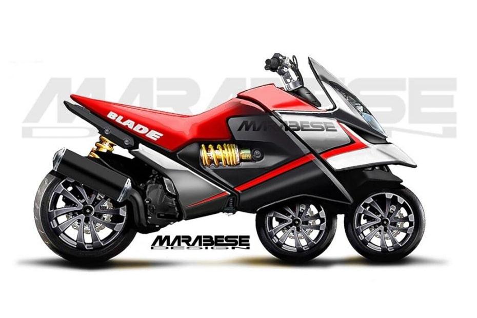 เผยภาพกราฟิก Marabese Blade Bike จักรยานยนต์แนวคิดสปอร์ตไบค์ 3 ล้อ